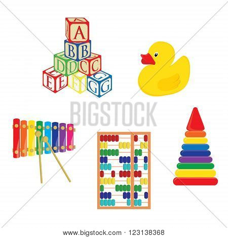 Baby toys xylophone yellow rubber duck alphabet building blocks pyramid and abacus vector set