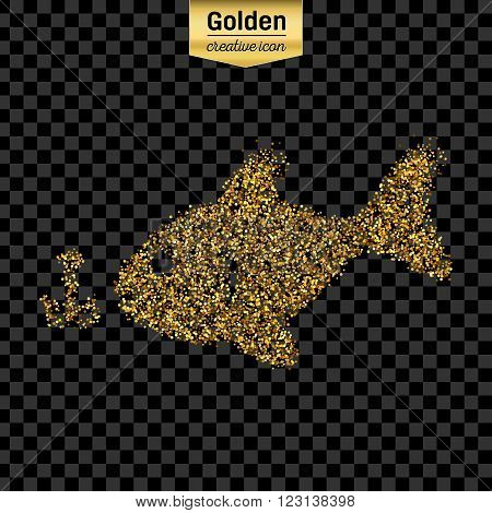 Gold glitter vector icon of fishing isolated on background. Art creative concept illustration for web, glow light confetti, bright sequins, sparkle tinsel, abstract bling, shimmer dust, foil.