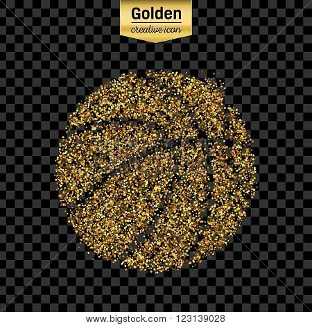 Gold glitter vector icon of basket ball isolated on background. Art creative concept illustration for web, glow light confetti, bright sequins, sparkle tinsel, abstract bling, shimmer dust, foil.