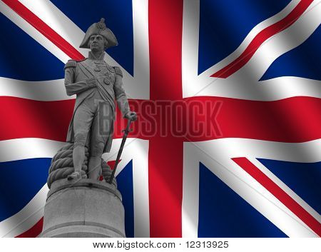 Statue of Admiral Nelson Trafalgar Square against rippled British Flag illustration
