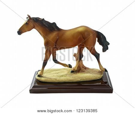 Horse runs, Horse souvenir made of resin perfect design and realism with isolated on white background.