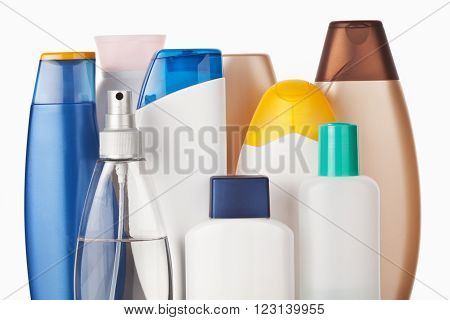 Set of colorful toiletries cosmetic plastic bottles