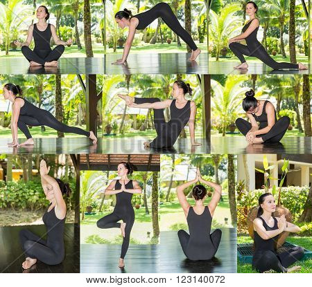 Collage of young woman is practicing yoga and pilates on nature. Morning meditation at summer