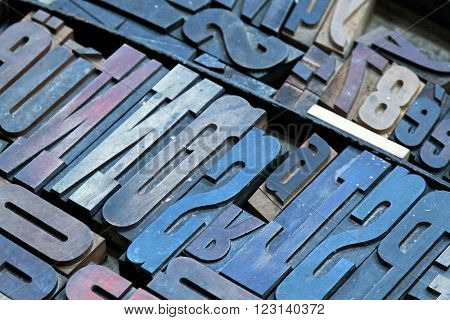 Big Collection of Vintage Printer Letter Blocks