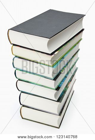 A stack of book with colored spines isolated on white background