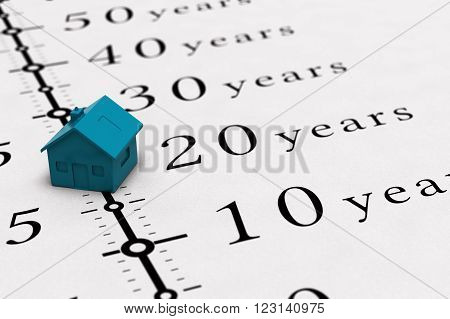 Real estate concept. Conceptual illustration for mortgage time or loan duration.