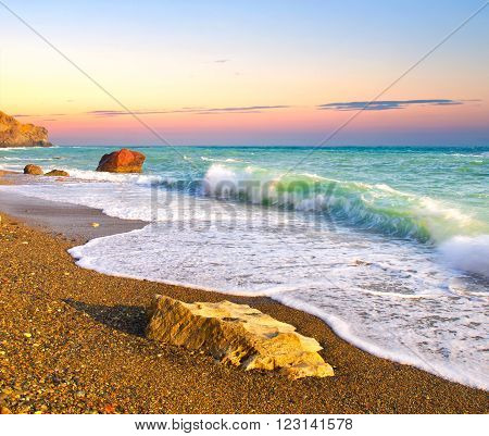 Seascape during sundown. Beautiful natural summer seascape ** Note: Shallow depth of field