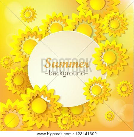Abstract yellow Floral Greeting card - background with paper cut Frame sunflowers. Trendy Design Template. Vector illustration. Floral trendy backdrop with orange yellow summer flowers.