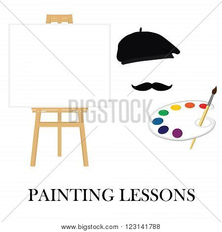 Painting lessons or school concept. Easel and painter in painter hat with mustache and holding paint palette.