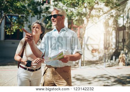 Mature Couple Exploring A Foreign City