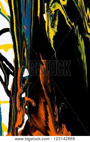 Closeup view of an original strips painting. Hand painted abstract grunge background. Multicolored texture with space for text or image. Fragment of artwork, modern art, contemporary art. Mixed media. Avant-garde art. Stains, spray paint. Colorful lines.