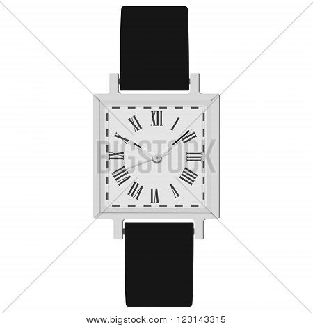 Vector illustration classic analog men wrist watch with black leather band. Watch with roman numerals