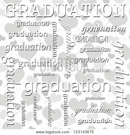 Graduation Design with Gray and White Hearts Tile Pattern Repeat Background that is seamless and repeats