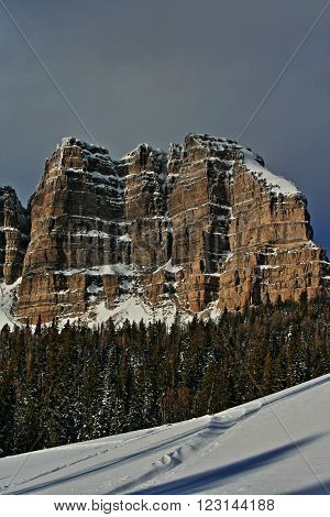 Breccia Peak and Cliffs in the Absaroka range of the Rockies in Wyoming USA in winter
