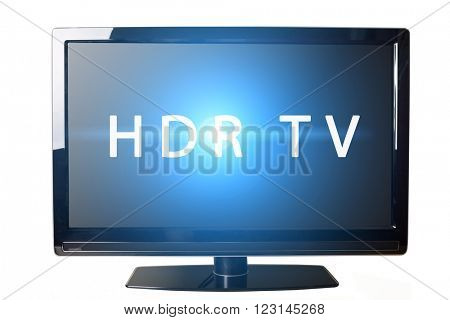Modern LCD TV isolated on white with HDR TV text on and flare