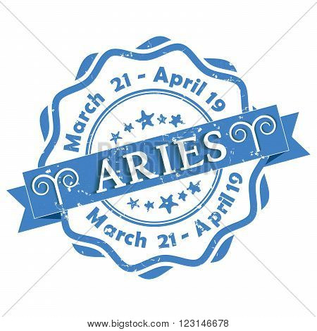 Aries (Ram) zodiac sign grunge blue ribbon, also for print. Contains also the Dates of Birth.