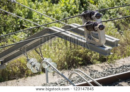 Catenary Train, tecnology, transport and travel concept
