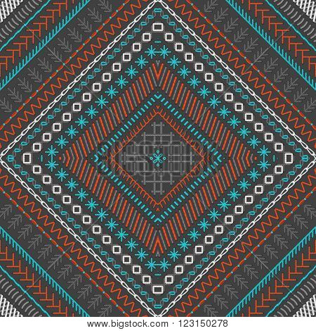 Vector Seamless Dark Tribal Embroidery Pattern.