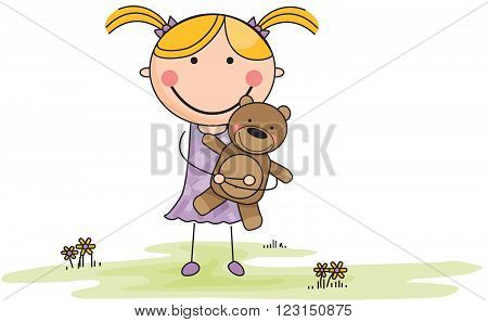 Cartoon Girl with Stuffed Animal in Field