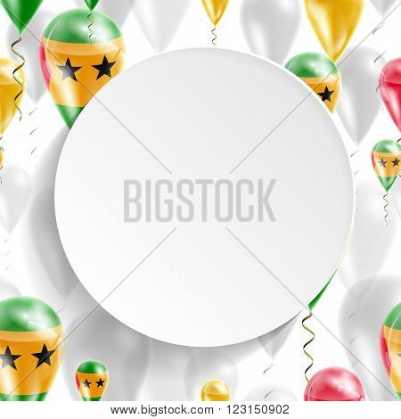 Flag of Sao Tome and Principe. Independence Day. Flag of Micronesia on air balloon. Celebration and gifts. Balloons on the feast of the national day.  Use for brochures, printed materials, signs, elements