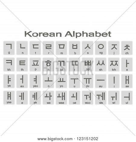 Set of monochrome icons with korean alphabet for your design