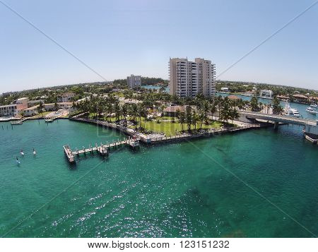 Aerial view of South Florida waterfront pier and promenade