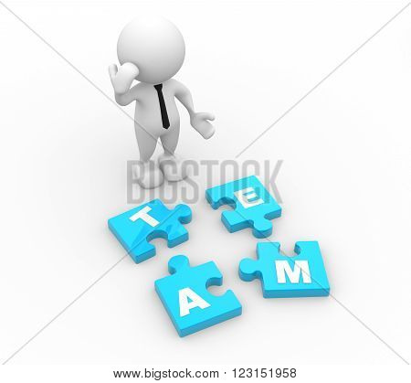 3d people - man person and pieces of puzzle. Team concept