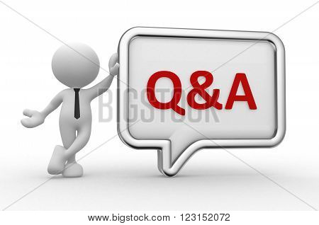 3d people - man person with a speech bubble. Q&A - question and answer