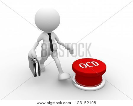 3d people - man person and a red button. OCD ( Obsessive compulsive disorder )