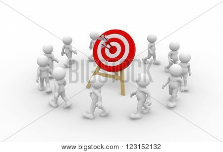 3d people - man person and a target