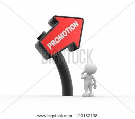 3d people - man person and directional sign - promotion