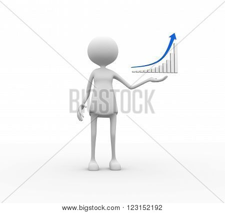 3d render  women - person  with financial graph