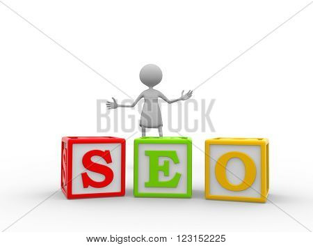 3d women - female with color cubes. SEO concept - Search Engine Optimization.