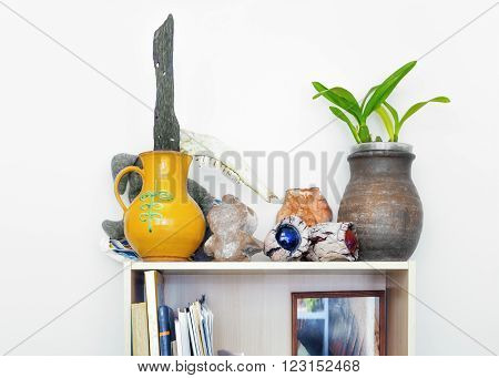 Clay pot horse jaw pitcher flowers books and various ceramic items on wooden bookshelf in a white background