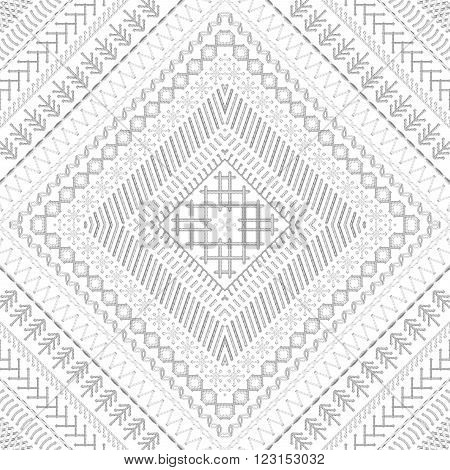 Vector Seamless White Tribal Embroidery Pattern.