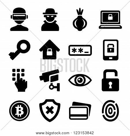 Dark Deep Internet and Security Icons Set. Vector illustration