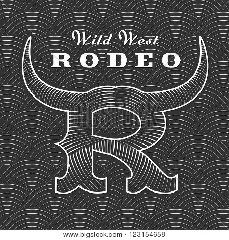 Rodeo vector logo template for event company product bar etc. Bull horns. Wild West sign