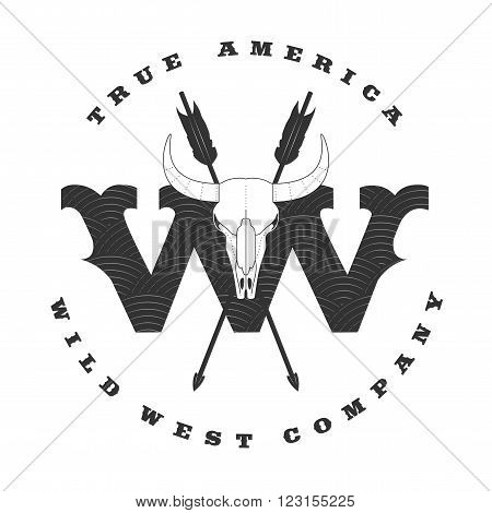 Wild West vector concept template logo for a company product event. Cowboy label rodeo illustration