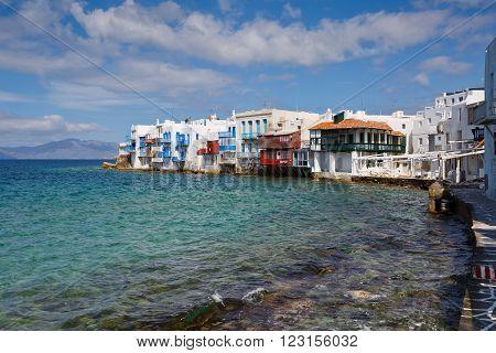 MYKONOS, GREECE - MARCH 06, 2016: View of Little Venice in the town of Mykonos, Greece on March 06, 2016.