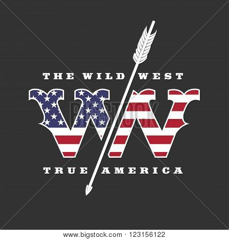 The Wild West concept vector logo template. Arrow and flag colors. Design element for company product event advertising materials