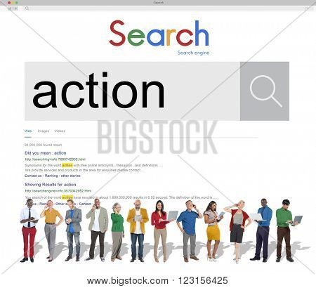 Action Internet Search Results Concept