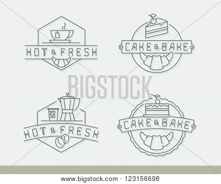 Vector linear labels for café menu with tea and coffee