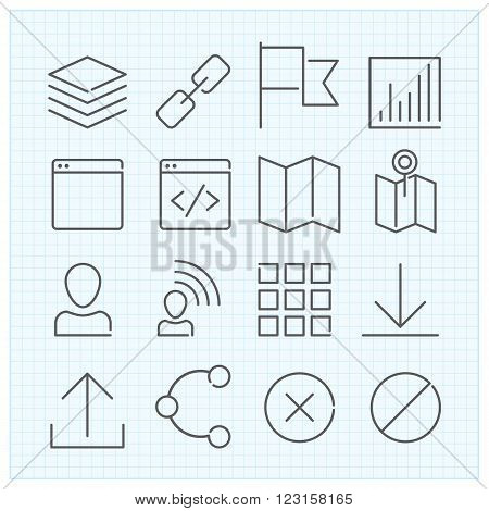 Vector universal interface thin line icons set for mobile ux/ui kit