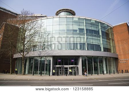 LONDON UK - APRIL 08 2015: The outside of a BBC building in central London