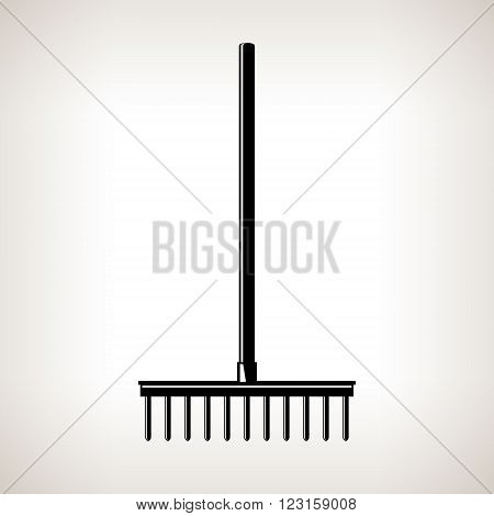 Rake, a Bow Rake for Soil and Rocks, Silhouette Garden Rake on a Light Background, Agricultural Tool ,Garden Equipment, Black and White Vector Illustration