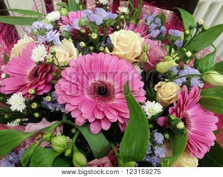 Fresh wedding decorated gerber bouquet closeup image