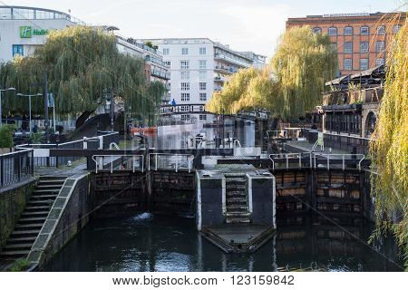 LONDON UK - DECEMBER 15 2014: Camden Lock or Hampstead Road Locks is a twin manually operated lock on the Regent's Canal in Camden Town London Borough of Camden