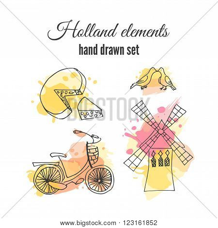Vector holland decorative elements. Netherlands illustrations. Amsterdam bicycle and windmill. Sketch  drawing on holland elements.
