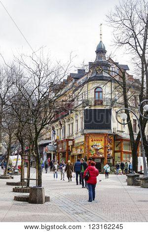 ZAKOPANE POLAND - MARCH 09 2016: Leisten House. Brick house built in 1900 by Samuel Leisten as a hotel at Krupowki street the main shopping area and pedestrian promenade in the city