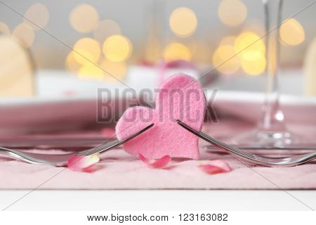 Beautiful romantic table setting for . St. Valentines Day